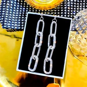 Silver Tone Rhinestone Chain Long Earrings